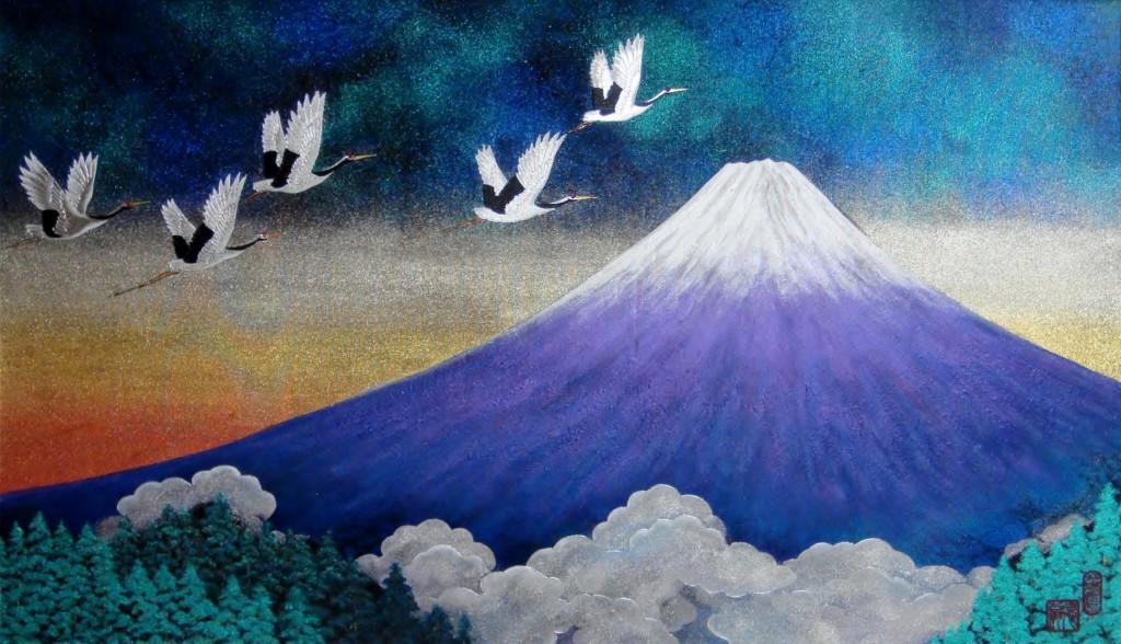 徳扇コスモ・アート「霊峰飛鶴(れいほうほかく)」15号サイズ