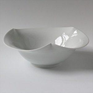 白磁 砥部焼 花鉢 白潟八洲彦 Tobe Pottery Porcelain Japanese Ware
